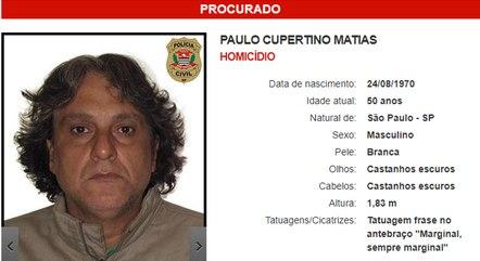 Perfil de Cupertino no site da Polícia Civil de SP