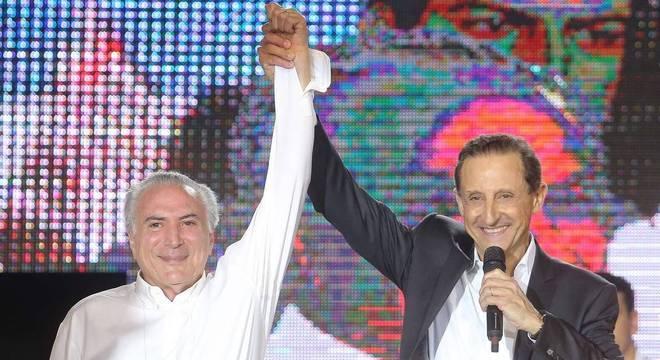 O presidente Michel Temer e o candidato ao governo de São Paulo, Paulo Skaf, do MDB