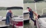 O pedido de casamento acima saiu exatamente conforme o NÃO planejado: com noivo na água e a noiva de pernas para o ar em um barco fora de controle