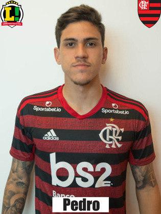 PEDRO - 4,5: Apresentação discreta do camisa 21, que atuou no lugar de Gabriel Barbosa. Com a exceção de um pivô ou outro, mal tocou na bola. Não teve muitas oportunidades para isso.