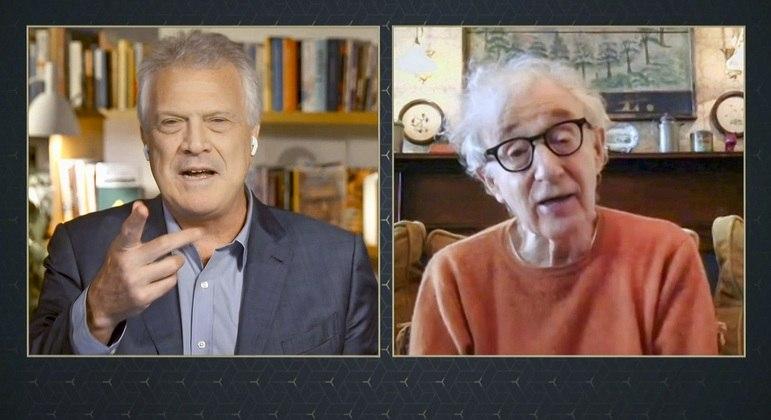 Pedro Bial e Woody Allen durante entrevista