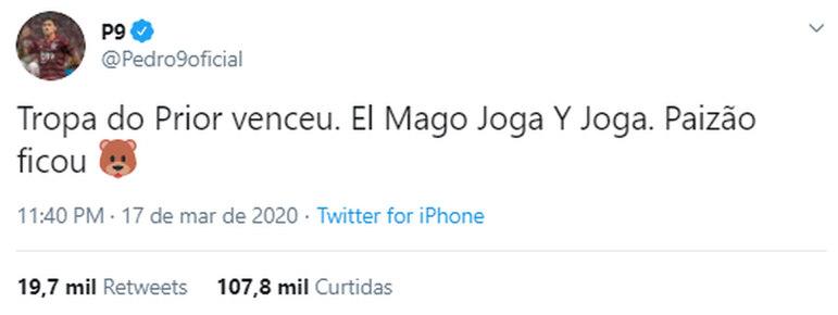 Pedro, do Flamengo, a exemplo do companheiro Gabigol, é bastante ativo na torcida pelo