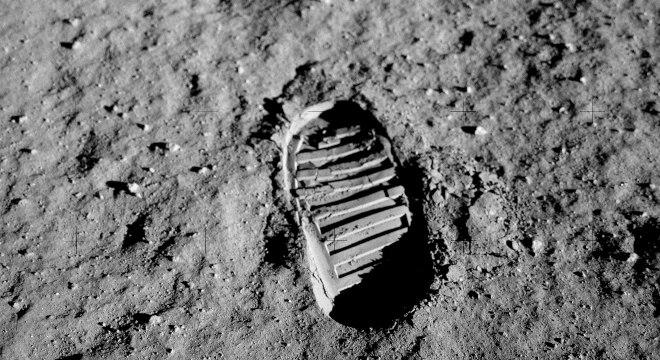 Pegada deixada por Edwin 'Buzz' Aldrin na Lua