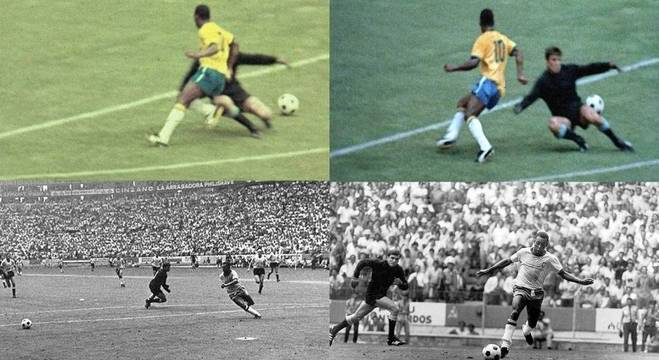 A sequência do drible em Mazurkiewicz, na Copa de 70
