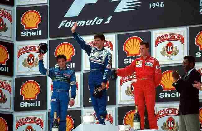 Pelé também participou de outro pódio do GP do Brasil em 1996. Na ocasião, a prova foi vencida pelo inglês Damon Hill