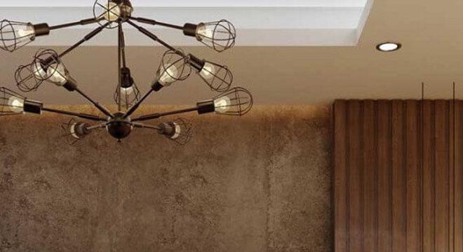pendente minimalista para quarto decorado em tons de marrom