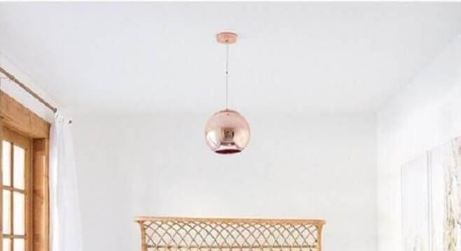 pendente para quarto com acabamento metalizado rose gold