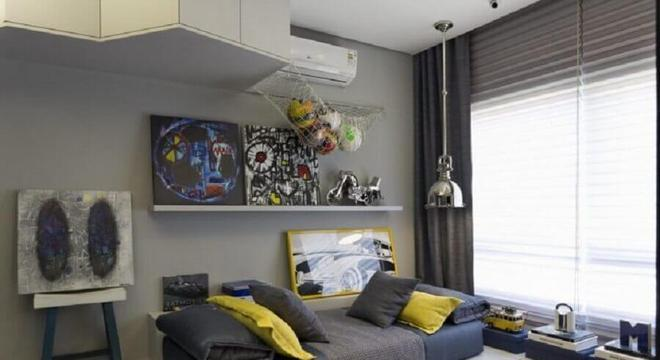 pendente para quarto masculino moderno cinza e amarelo