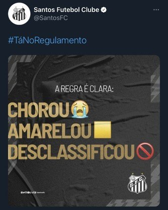 Perfil oficial do Santos usou #TáNoRegulamento para provocar a equipe argentina