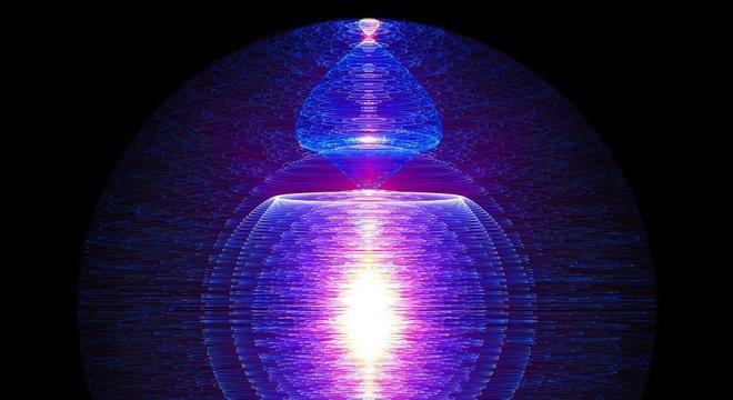 Perspectiva artística de uma reação de fusão nuclear