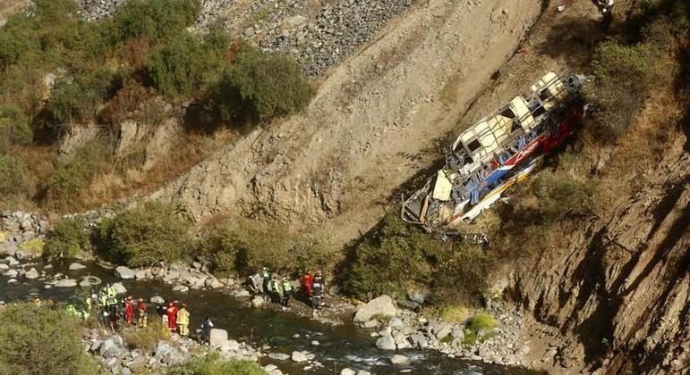 Veículo despencou em um precipício após sair da estrada no Peru