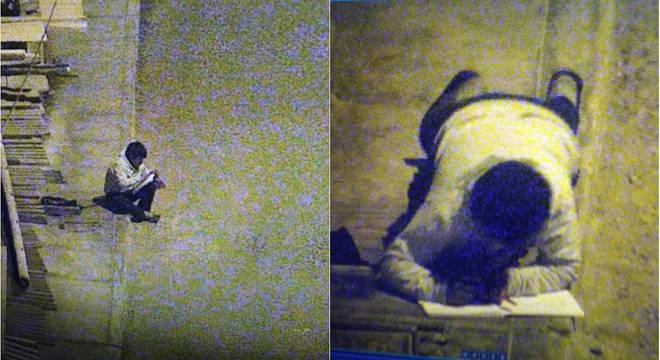 Nas imagens, feitas em março, Victor chega a deitar na calçada para fazer o dever