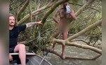 Uma dupla de pescadores resgataram um homem nu em um pântano. No momento em que foi encontrado, o sujeito estava na mira de crocodilos gigantes e berrava por ajuda