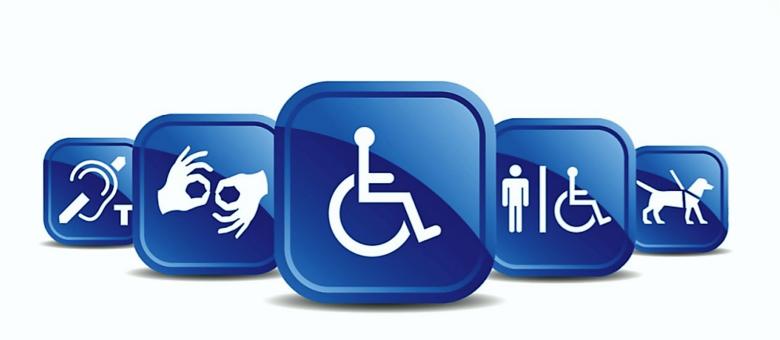 Imagem com símbolos relacionados à diversos tipos de deficiência.