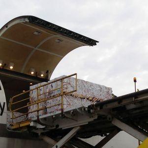 Primeiro voo trazendo 1.076.400 de doses da Pfizer chegou nesta manhã