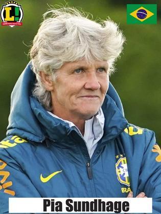 Pia Sundhage - 8,0 - Estratégia da treinadora sueca deu certo e Seleção Brasileira marcou em cima, aproveitando os erros da China. No segundo tempo, poupou nomes como Marta e Formiga.