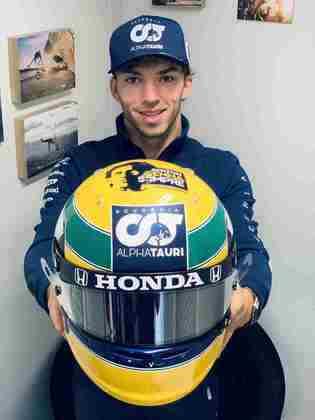 Pierre Gasly prestou homenagem a Senna por meio da pintura no capacete, inspirada na de Ayrton
