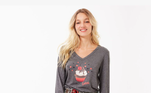 Pijama longo com calça de corte reto e modelagem americanaem flanela de viscose xadrez em malha cinza e mescla com estampa é uma peçamoderna, super confortável e quentinha para a estação mais fria do ano