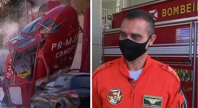 O piloto Moisés Barcelos sofreu só arranhões na queda do helicóptero