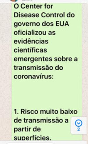 Prints mostram suposta mensagem do CDC que circulam por WhatsApp