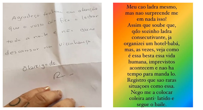 Piovani postou texto nos stories do Instagram para rebater carta do vizinho