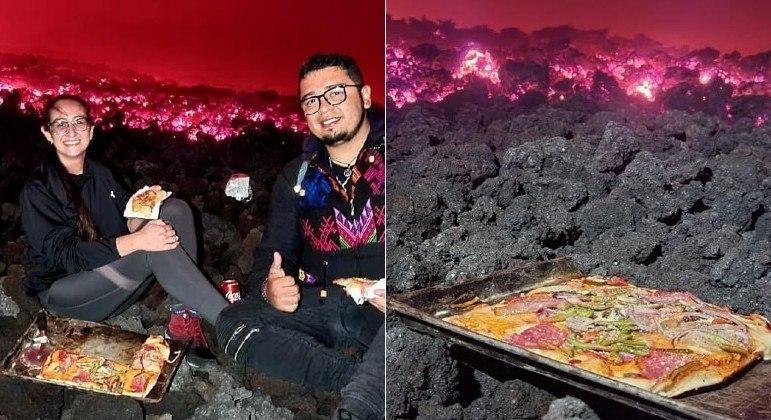 Pizzas preparadas sobre rochas fumegantes do vulcão Pacaya, na Guatemala