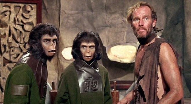 Charlton Heston no primeiro filme da série, em 1968