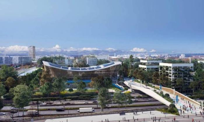 Plano para os Jogos Olímpicos de Paris, em 2024. Área externa do centro aquático.