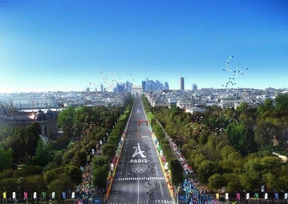 Plano para os Jogos Olímpicos de Paris, em 2024. Competições de ciclismo passarão pela Champs-Élysées e pelo Arco do Triunfo.