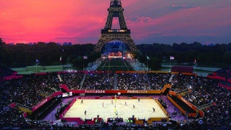 Plano para os Jogos Olímpicos de Paris, em 2024. Vôlei de praia será realizado em arena montada aos pés da Torre Eiffel.