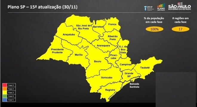 Mapa mostra que estado de São Paulo regride para 100% na fase amarela