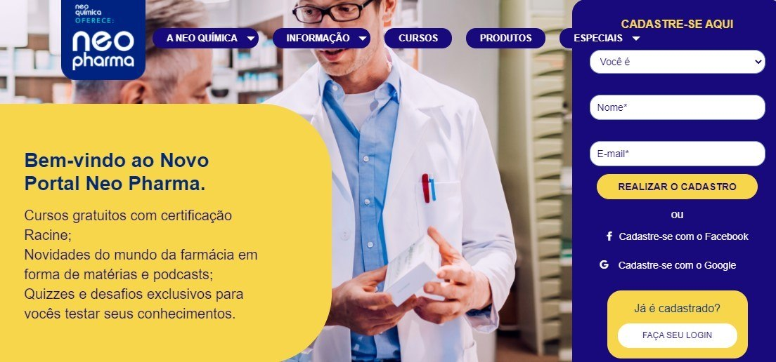 Portal Neo Pharma é uma plataforma completa de aprendizado e conhecimento para os profissionais da Farmácia