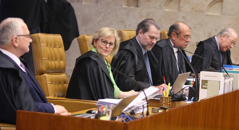 Os ministros do STF Edson Fachin, Rosa Weber, Dias Toffoli, Gilmar Mendes e Celso de Mello