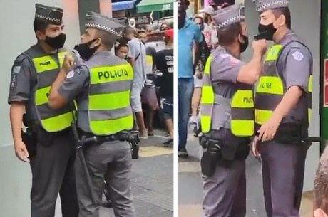PM aponta arma para colega no centro de São Paulo