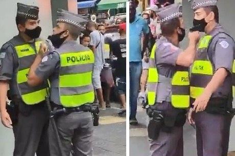 PM aponta arma para colega na Santa Ifigênia, Centro de São Paulo