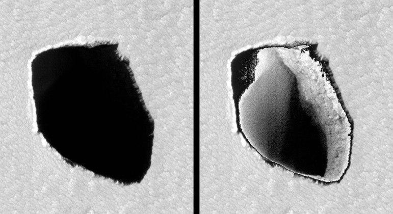 Foto do poço original (à esquerda) e clareada (à direita)