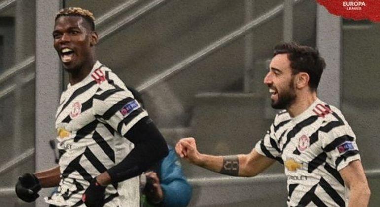 Pogba, à esquerda, o gol do United que eliminou o Milan