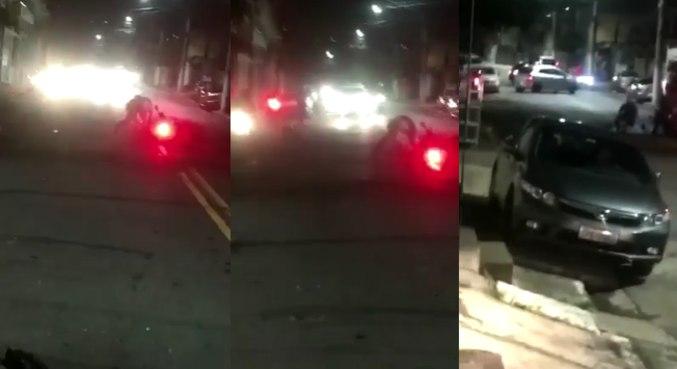 Imagens mostram policial, ao fundo, agredindo jovem com socos