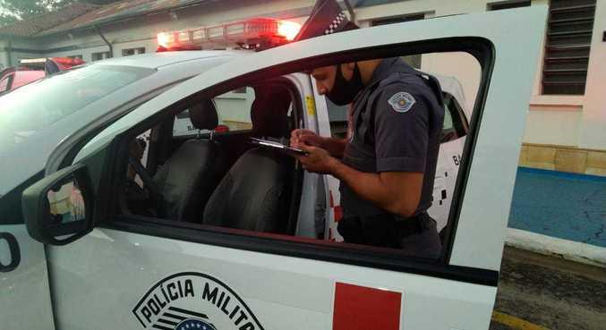 Policial militar durante ocorrência em São Paulo