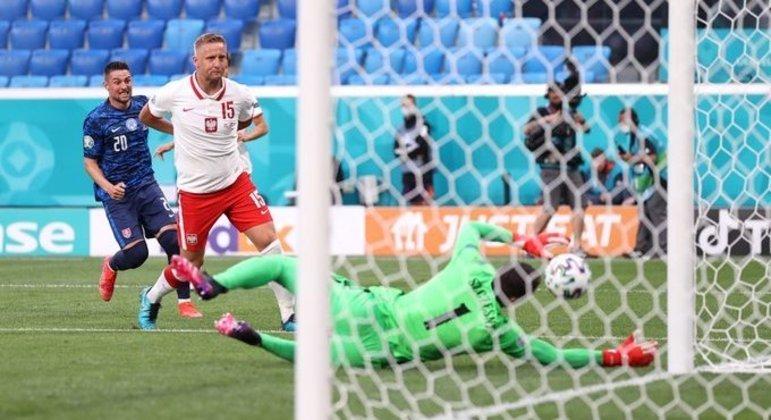 O momento em que a bola vai ao poste, em Szczesny e entra, Eslováquia 1 X 0 Polônia