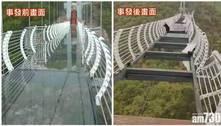 Turista fica preso em ponte de vidro na China após vendaval