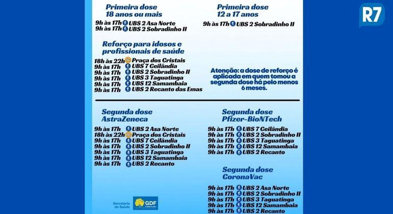 Lista de postos de vacinação de sábado