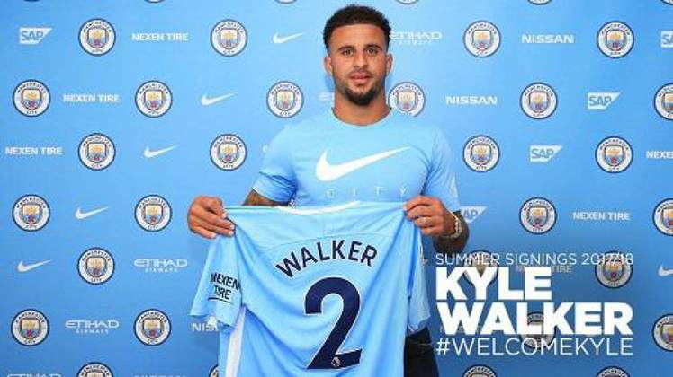 Por 52,7 milhões de euros (quase R$ 350 milhões) o lateral-direito Kyle Walker foi contratado ao Tottenham em 2017.