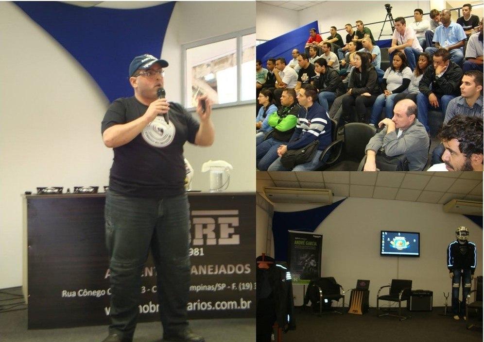 André Garcia usando calça HLX durante evento de SIPAT em grande indústria na região de Campinas em 2012 com apoio da HLX. Ronaldo foi prestigiar
