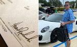 O homem acima, identificado comoCasey William Kelley, 42, conseguiu comprar um Porsche com um cheque que ele mesmo imprimiu em casa