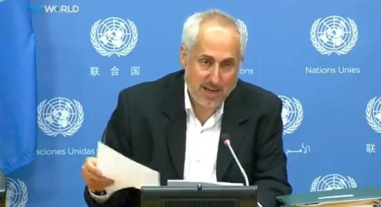 Porta-voz da ONU, Stephane Dujarric, em pronunciamento para jornalistas