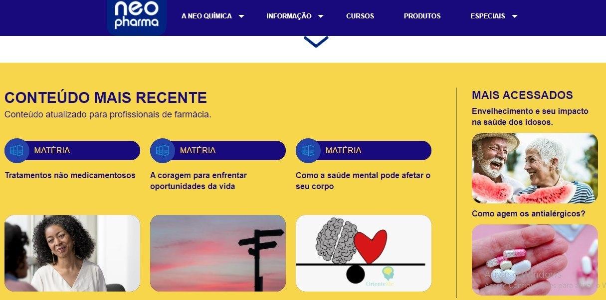 Matérias e artigos científicos exclusivos estão disponíveis no Portal Neo Pharma