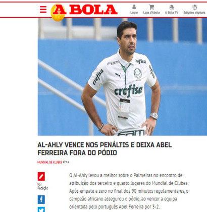 Portugal A Bola - O jornal português destacou Abel Ferreira fora do pódio do Mundial.