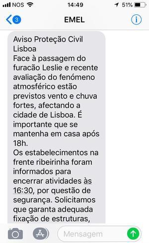 Alerta enviado via SMS