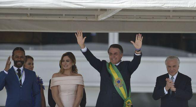 Presidente Jair Bolsonaro logo após receber a faixa presidencial de Michel Temer